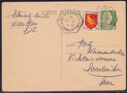 Entier Postal CP 12 F Marianne De Muller + 3 F Aunis - Moselle Pour Sarre Au Tarif Carte Postale Régime Intérieur 1957 - 1955- Marianne De Muller