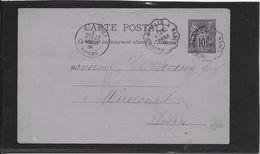 France Entiers Postaux - 10 C Noir - Type Sage - Carte Postale  -  Oblitéré Ambulant - Spoorwegpost