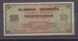 EDIFIL 430a.  25 PTAS 20 DE MAYO DE 1938 SERIE D CONSERVACIÓN EBC. - [ 3] 1936-1975: Franco