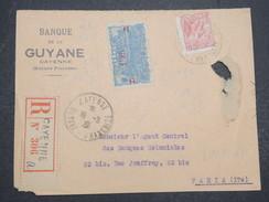 GUYANNE FRANçAISE - Devant De Lettre Recommandé Pour Paris - Abimé Mais Pas Courant - 1933 - P22039 - Guyane Française (1886-1949)