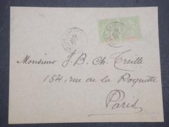 GUYANNE FRANçAISE - Devant De Lettre Avec Type Groupe 2 X 5 C Pour Paris - Pas Courant - Oct 1912 - P22041 - Guyane Française (1886-1949)