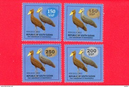 SOUTH SUDAN Surcharged Overprints On 1 SSP Birds Of The 2nd Set SOUDAN Du Sud Südsudan - Sudan Del Sud