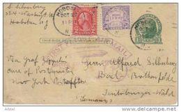 USA ENTERO POSTAL VOLADO EN ZEPPELÍN HASTA ALEMANIA EN EL PRIMER CORREO AEREO DE 1928 MARCA ALUSIVA AL VUELO EN CLOR VIO - Zeppeline