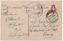 Cart. Posta Militare Tripoli ->Roma Viaggiata 1918 - Tripolitania
