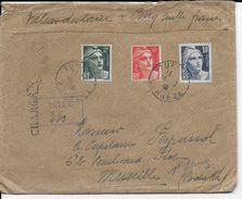 1946 - GANDON - LETTRE CHARGEE De TULLE (CORREZE) Avec CACHET De RECOMMANDATION PROVISOIRE RARE => MARSEILLE - Postmark Collection (Covers)