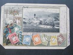 AK Altdeutschland Bayern Mehrbildkarte Briefmarken Bayern Und Gmund A.T. Philatelie Ansichtskarten Ottmar Zieher München - Stamps (pictures)