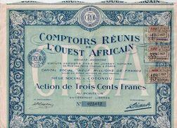 Comptoirs Réunis De L' Ouest Africain - Action De Trois Cents Francs - 1927 - Textil
