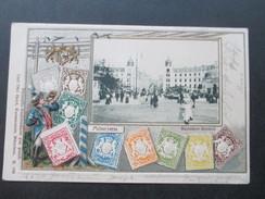 AK Bayern Mehrbildkarte Briefmarken Bayern Und München Philatelie Ansichtskarten Carl Otto Hayd. Verschobener Druck!!! - Stamps (pictures)