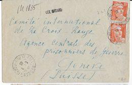 1946 - GANDON - LETTRE RECOMMANDEE PROVISOIRE De NICE MAGNAN (ALPES MARITIMES) => GENEVE (SUISSE) -PRISONNIERS DE GUERRE - Postmark Collection (Covers)