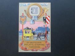 AK Bayern Künstlerkarte 27. Deutscher Philatelistentag Nürnberg 1921. Privatganzsache Mit Vignetten! Fritz Schneller - Stamps (pictures)