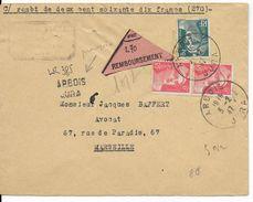 1947 - GANDON - LETTRE RECOMMANDEE PROVISOIRE CONTRE REMBOURSEMENT De ARBOIS (JURA) => MARSEILLE - Postmark Collection (Covers)