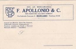 BIGLIETTO DA VISITA CON MARCA DA BOLLO CENT. 10 - F. APOLLONIO E C.- PER FORNITURE AGLI ENTI PUBBLICI - BERGAMO - 1900-44 Victor Emmanuel III