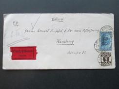 Danzig 1921 Eilboten / Expres Beleg Zoppot - Hamburg Nr. 11 MiF Eilbrief! Goldenes Siegel. Interessanter Beleg! - Danzig