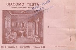 BIGLIETTO DA VISITA CON MARCA DA BOLLO CENT. 10 - GIACOMO TESTA - IDRAULICO MECCANICO - BERGAMO - 1900-44 Victor Emmanuel III