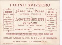 BIGLIETTO DA VISITA CON MARCA DA BOLLO CENT. 5 - FORNO SVIZZERO, FABBRICA DI PASTA , PASTICCIERIA  BERGAMO - 1900-44 Victor Emmanuel III