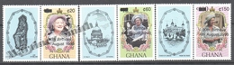 Ghana 1990 Yvert 1177A-77C, 90th Anniv Of H.M. The Queen Mother Elizabeth - Overprinted - MNH - Ghana (1957-...)