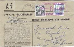 STORIA POSTALE - BUSTA VIAGGIATA - SERVIZIO NOTIFICAZIONI ATTI GIUDIZIARI - Affrancature Meccaniche Rosse (EMA)
