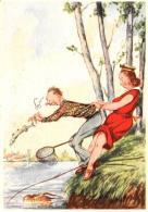 [DC11090] CPA - HUMOR - PESCATORE - Non Viaggiata - Old Postcard - Humor