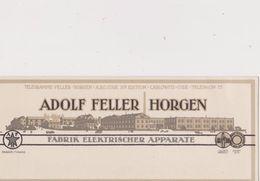 SCHWEIZ, HORGEN --   VISITING CARD  --  ADOLF FELLER HORGEN  / FABRIK ELEKTRISCHER APPARATE - Visitekaartjes