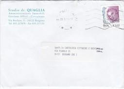 STORIA POSTALE - BUSTA VIAGGIATA - STUDIO DR. QUAGLIA , AMMINISTRAZIONE IMMOBILI GESTIONE AFFITTI  - BERGAMO - 1946-.. République