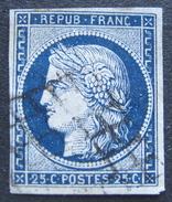 LOT R1595/45 - CERES N°4a Bleu Très Foncé - GRILLE NOIRE - Cote : 75,00 € - 1849-1850 Ceres