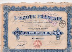 L' Azote Français - Action De 100 Francs Au Porteur - 1926 - Textile
