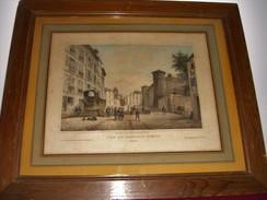 """Tableau Avec Cadre Bois  Très Ancien   """"  Vue Du Chateau  Vieux  De  Bayonne  64  """"    ( 55 Cm  X  46,5 Cm ) - Engravings"""