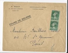 Enveloppe Affr.paire Du 10c Semeuse Vert Préoblitéré N°51; Sur Imprimé En Nombre Urgent Jusqu'à 20g, Tarif Du 9/08/1926 - Préoblitérés