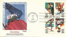 United States 1984 Sarajevo Winter Olympics, Bobsledding, Souvenir Cover - Hiver 1984: Sarajevo