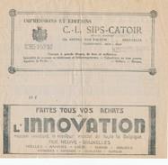 602/25 - Belgique Télégramme Publicitaire BRUSSELS 1933 - TOPIC Impressions/Printings Et Innovation Department Store - Alimentation