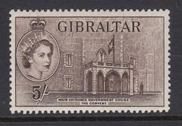 Gibraltar 1953 5/- MLH (*) - Gibilterra