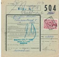 604/25 - NINOVE Cachet De Gare Sur Formule De Colis Avec Timbre Chemin De Fer 1950 - 1942-1951
