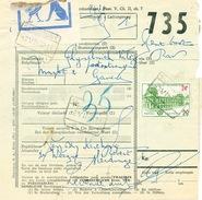 606/25 - SLEYDINGE Cachets De Gare Sur 2 Formules De Colis Avec Timbres Chemin De Fer 1962/1971 - Chemins De Fer