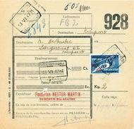 607/25 - SINT AGATHA BERCHEM Cachets De Gare Sur 2 Formules De Colis Avec Timbres Chemin De Fer 1947 - 1942-1951