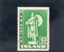 ISLANDE 1939 ** - 1918-1944 Unabhängige Verwaltung