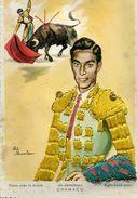 Carte Brodée - Un Derechazo CHAMACO - Illustrateur: Eloi Gumier - Brodées