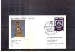 Card First Flight Lufthansa - Kathmandu-Dubai - 1988 (to See) - Népal