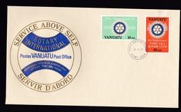 Vanuatu: FDC First Day Cover, 1980, 2 Stamps, Rotary Club Port Vila (traces Of Use) - Vanuatu (1980-...)