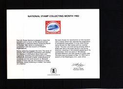 USA 1982 National Stamp Collecting Month Souvenir Card - Etats-Unis