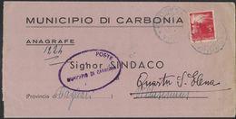 XB110   Storia Postale - Lettera Tariffa Ridotta Sindaci Da Carbonia A Sindaco Villasimius 1947 - 6. 1946-.. Repubblica