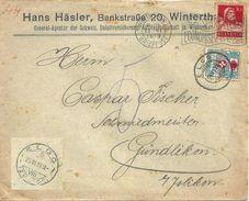 """Taxierter Motiv Brief  """"Schweiz.Unfallversicherungs AG, Häsler, Winterthur""""          1919 - Covers & Documents"""