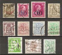 Belgique - Timbres De Service  - Petit Lot De 11 °  - Leopold III - Baudouin - Petit Sceau - Chiffre Sur Lion Héraldique - Stamps