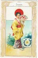 Chromo Publicité. Bonneteries Van Kerkhoven-Adam, Malines. Geisha, Art Nouveau. - Chromos