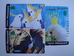 3 Tamura Phonecards From Australia -  Parrots - Australia