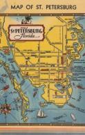 Map St. Petersburg Florida, City Map On C1940s Vintage Linen Postcard - Maps