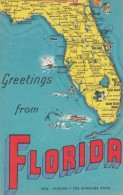 Greetings From Florida Map On C1940s Vintage Linen Postcard - Maps