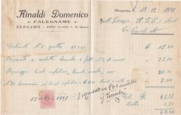 FATTURA COMMERCIALE - CON MARCA DA BOLLO DA CENT. 20 - RINALDI DOMENICO , FALEGNAME - BERGAMO - Italia