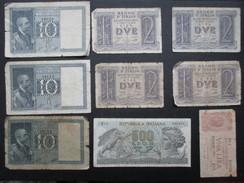 LOT 9 BILLETS ITALIE (V1719) 500 Lires 10 Lires 2 Lires 1 Lire (2 Vues) - Italie