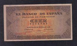 EDIFIL 423a.  100 PTAS 20 DE MAYO DE 1938 SERIE D - 100 Pesetas