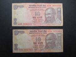 LOT 2 BILLETS INDE (V1719) TEN RUPEES 10 (2 Vues) Reserve Bank Of India - Inde